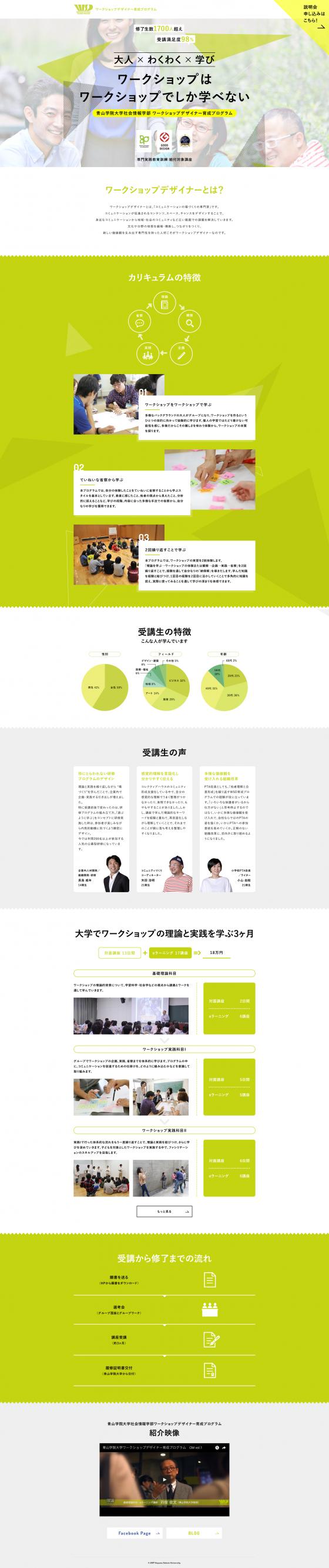 青山学院大学社会情報学部 ワークショップデザイナー育成プログラム